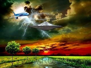 Lightning wallpaper nature ufo plane