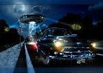 vehicle car Chevrolet night UFO digital art fantasy art lights